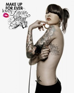 make up for ever et laura satana 241x300 La tatoueuse Laura Satana pour Make Up For Ever