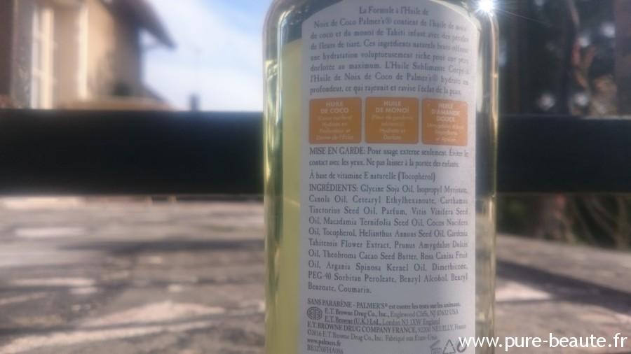 composition huile de coco palmer's